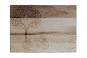 Custom Engraved Cutting Boards - Personalized Cutting Boards - Bike and Tree Cutting Board