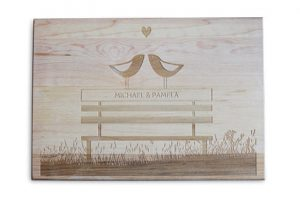 Custom Engraved Cutting Boards - Personalized Cutting Boards - Love Birds Cutting Board