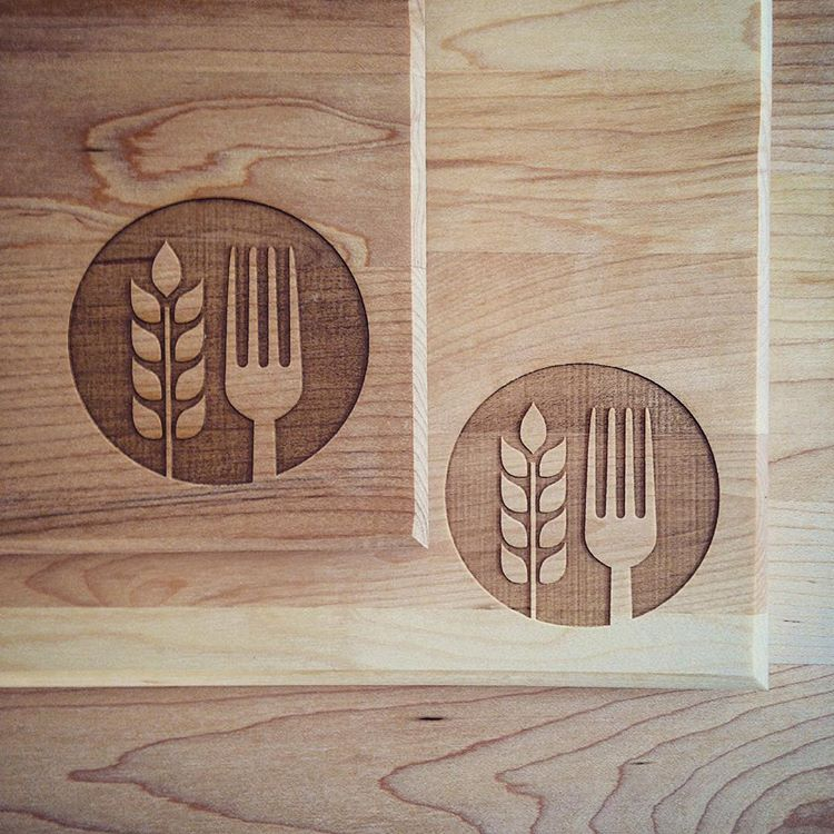 Custom Cutting Boards Wheat Fork