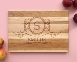 Personalized and Engraved Wood Cutting Board Family Crest Name