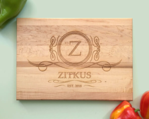 Personalized and Engraved Wood Cutting Board Family Crest Name and Date
