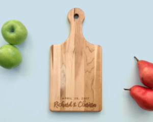 Personalized and Engraved Wood Serving Board Names Date