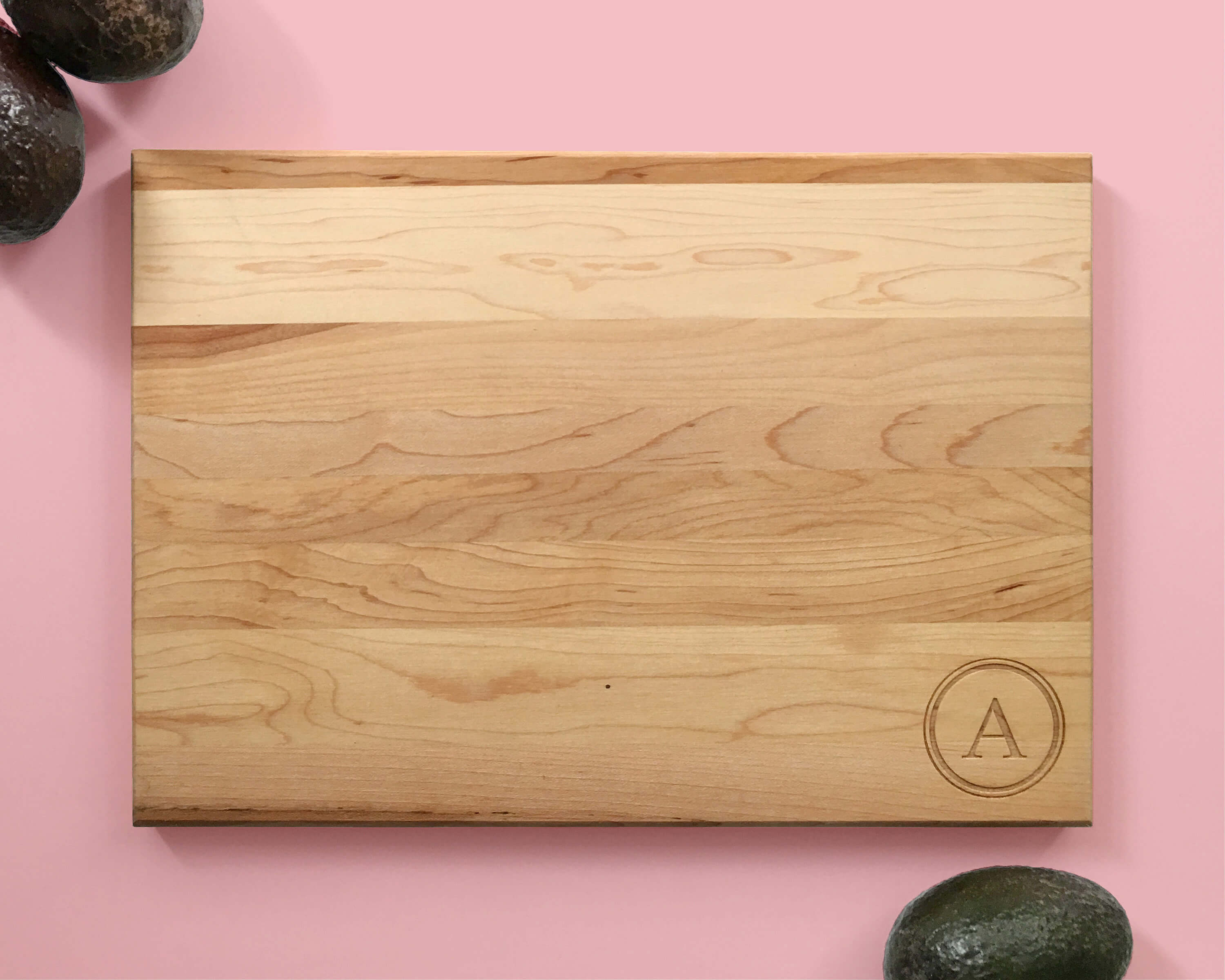 Personalized Engraved Wood Cutting Board Initial In Circle