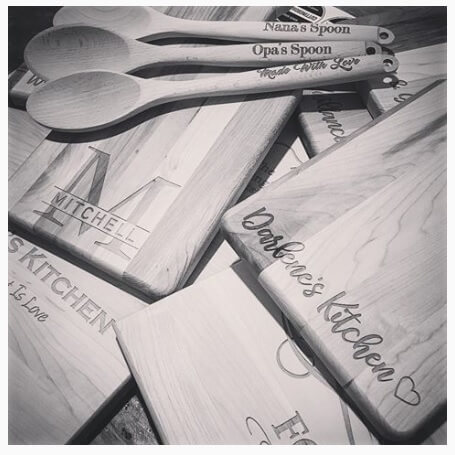 Personalized Wood Spoons With Personalized Cutting Boards